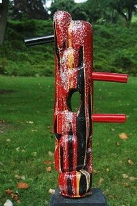 "Bold - Outside the Box, Bass wood, paint, glitter, wooden pegs, 22""h"