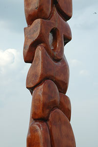 For Whom the Bells Toll (detail), cherry wood, 12' h