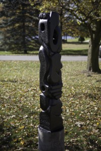 The Train I Ride: Observation II (View 2), aerated cement, 4' h (Ancilla College)