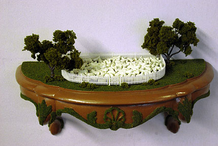 Stacey M. Holloway, Sheep Shelf, mixed media