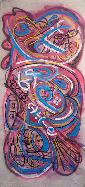 "Julian Alcantar, ""Untitled"", 52.5"" x 24"", acrylic and spray paint on canvas"