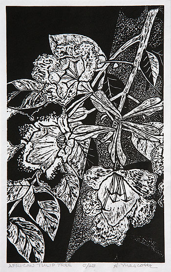 "Hank Mascotte, ""African Tulip Tree"", 6 7/8"" x 11 1/2"", block print on rice paper"